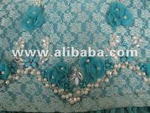 Blue pearl , bead, flower designer dress
