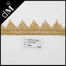 Fancy design gold metallic trim for garment decoration