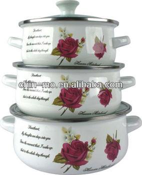 671DG,6pcs porcelain enamel cookware with metal handle