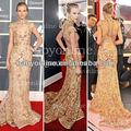 Bo2308 col haut à manches courtes d'or. longue en dentelle robes de célébrités tapis rouge des robes 2013 dos ouvert