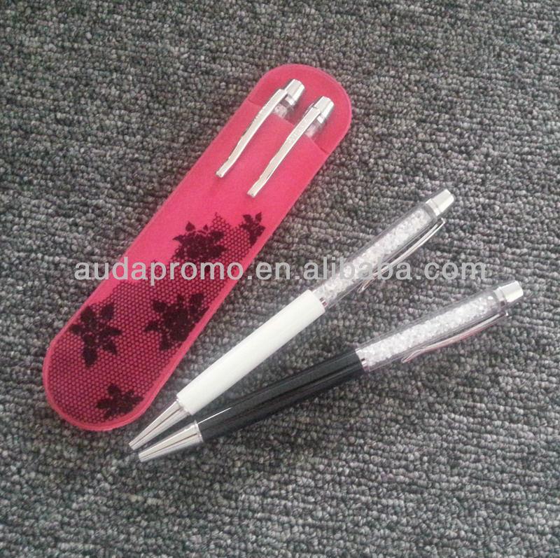 metal jewel ball pen with PET pen holder