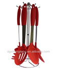 6 Piece Silicone Kitchen Utensil Set with Holder (Red)