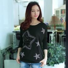 D37275A Korea style woman clothing,fashion womens long sleeve loose t-shirts