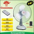 14 pulgadas tamaño del ventilador del ventilador recargable material abs caliente del ventilador del ventilador venta cr-8114