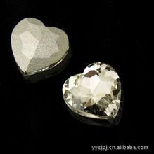 copy rough diamond with heart shape,shiny glass made,for dress decoration