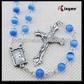 Cómo para rezar el rosario católico, vidrio 8mm ojo de gato de rosario, suministros católica