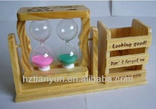 chinese wooden brush pot /pen pot with sand timer hourglass