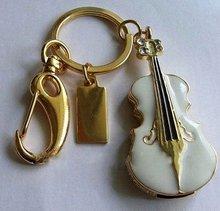 White Violin Style Keychain USB Flash Drive