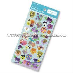Petit Poche Sticker Violet _ beautiful flowers _ sticker printing _ stationery item _ handmade _ japanese sticker