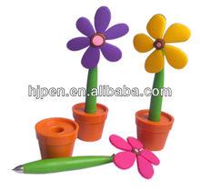 Plastic Design Ball Pen With Pen Holder, Flower Pen Pot