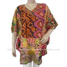 Multicolor Cotton Top Women Boho Floral Embroidery Ladies Tunic Plus Sz 3X