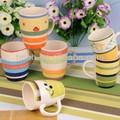 Pintado a mano de cerámica de gres café tazas/mugs/tarros