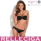 Wholesale Swimwear! RELLECIGA Push-Up Bandeau Top Sexy Girls Black Bikini Model with Rhinestone Decoration at Heart