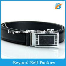 Beyond Men's Black Grain Leather Feather Edge Ratchet Belt with Automatic Buckle