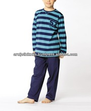 STRIPED LONG SLEEVE PAJAMA TOP WITH SOLID PANT SET
