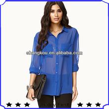 Mais recente chiffon blusa de projetos, Design de moda senhora chiffon blusa, New style azul navy chiffon blusa de modelo e agradável camiseta tops