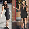 Megan Fox Sexy Black Transparent Tulle Knee Length Bodycon Dress