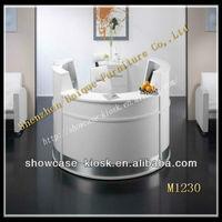 White half round reception desk design,front desk reception counter for sale