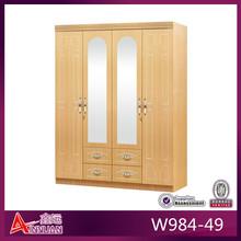 W984-49 bedroom furniture double mirrored 4 door wardrobe
