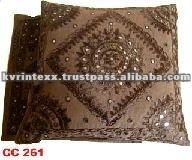 mirror applique work Cushion Cover
