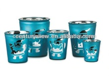 Special Blue Christmas glass flower pot paintings