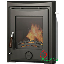 wood burning cast iron fireplace with boiler