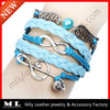 2014 stock sale antique silver music skull infinity wing charm multilayer braided leather bracelet vners MLAB-0286