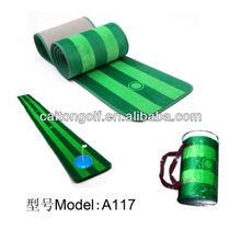 Golf putter and hitting mat , practice mat hot sale golf wooden putter trainer/new golf puting mat