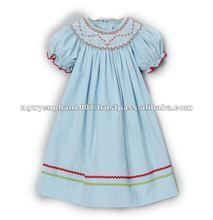 Light Blue Smocked Corduroy Bishop Dress - Infant, Toddler & Girls