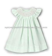 Mint Smocked Angel-Sleeve Dress - Toddler