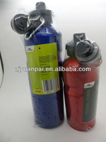 Aluminum water bottle with shrink wrapped packing