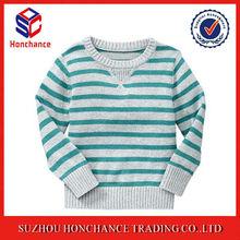 Crew Neck Striped Splicing Simple Soft Pullover
