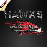 Wholesale hotfix bling design cool red hawk rhinestones