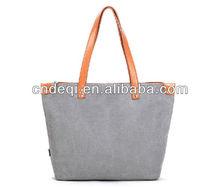 fashionable plain designer canvas tote bag, high quality customed logo handbags