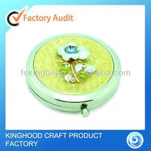 M23008I Feminine rose decor white pearl epoxy round metal pocket mirror