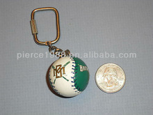 fashion sports ornament green and white baseball keychain
