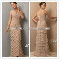 Sexy v- col en mousseline de soie plissée ruchés backless robes du soir longues 2014 printemps, xt-409 robe de soirée de couleur champagne