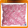 "Wholesale soft decorative pillow covers Pink crochet satin rosette throw pillow case 17.3"" *17.3"""