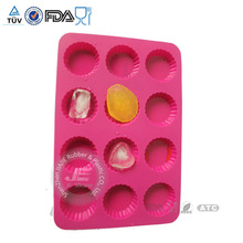 Soft silicone material ice cube trays with 12 holes / durable for long time use silicone ice cube tray / silicone ice cube mold