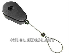 Metal retractable cable security tether for camera display