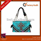 2013 Fashion WESTERN COWGIRL RHINESTONE CROSS TOTEBAG PURSE BAG HANDBAG & WALLET SET BLUE