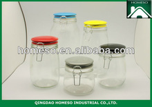 kitchen clear glass clip top lid storage jars with ceramic lid