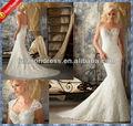 2014 nova queda querida sereia casamento vestido de renda com o bolero de renda