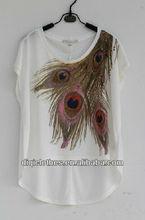 Nail bead hot drilling printing T-shirt for woman