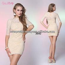 03640BG Beige Round Neckline Lace 3/4 Sleeve Casual Dress