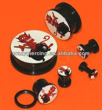Black Acrylic Screw Ear Gauge Tunnel Plug Piericng Body Jewelry Red Devil