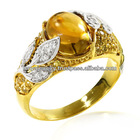 Yellow Gold Plated Flower Ring with Oval Whisky Quartz, Yellow Sapphires and Cubic Zirconia