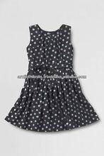 LITTLE GIRLS SLEEVELESS PRINTED KNOT FRONT DRESS