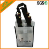 White 4 bottle non woven wine carrier bag
