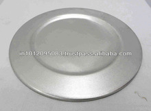 Round Charger Plate Aluminum and Hammered and High Polish
